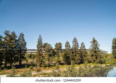 Cupertino, CA / USA - OCTOBER 16, 2018: Facade of the Apple Park Campus, Apple Park is the corporate headquarters of Apple Inc.