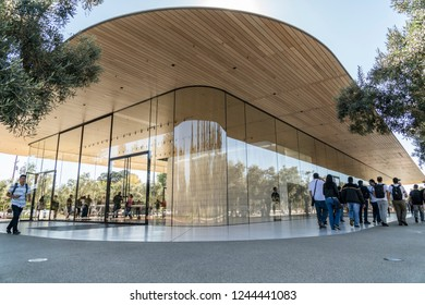 Cupertino, CA / USA - OCTOBER 16, 2018: Facade of the Apple Park Store, Apple Park is the corporate headquarters of Apple Inc.