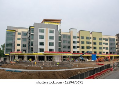 Cupertino, California, USA - November 13, 2018 - The construction of a brand new Hyatt House Hotel at Vallco Fashion Park near the corporate headquarters of Apple