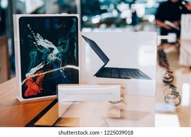 Cupertino, California / USA - November,8, 2018 Apple company electronics products sealed in boxes. Ipad Pro with 12.9 inch Liquid retina display, smart keyboard folio, Apple Pencil (2ndGeneration)