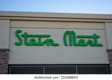 Cupertino, California, USA - October 29, 2018 -  Logo of Stein Mart an American discount men and women's department store in Homestead Square shopping center