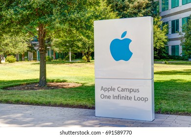 CUPERTINO, CA/USA - JULY 29, 2017: Apple Computer headquarters exterior and logo. Apple Inc. is an American multinational technology company.