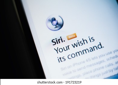 CUPERTINO, UNITED STATES - FEBRUARY 11, 2012: Siri the intelligent personal assistant and knowledge navigator button as seen on Apple iPhone on February 11, 2012. Siri is a very smart assitant