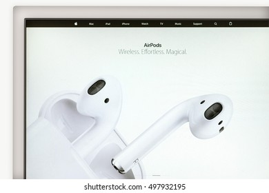 Cupertino, United States - October 7, 2016: Apple AirPods on Apple Inc. site. New high-tech headphones AirPods with support iPhone 7. Photo of monitor screen with stylish device