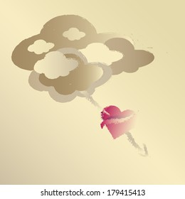 Cupid. Love heart with arrow through it under clouds, raster illustration from vector