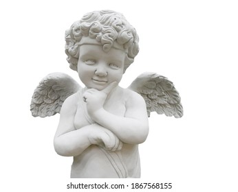 Cupid Statue decorated diecut on white background with path