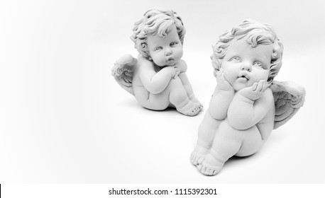 Cupid Statue decorated on white background.