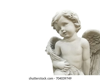 Cupid Statue decorated on white background with path
