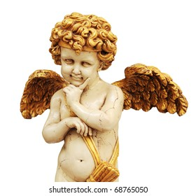 cupid statue with gold color wing