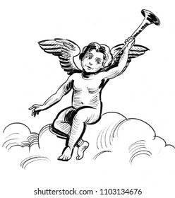 Cupidon on the cloud. Ink black and white drawing