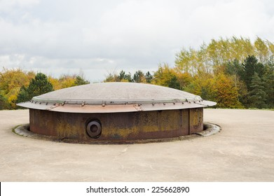 The cupola of a 155mm gun turret, used in First World War; Fort Douaumont, Verdun. It was raised for firing and then lowered for protection.