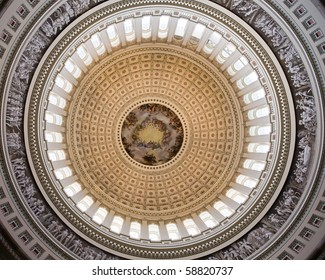 cupola and ceiling of the rotunda - capitol with fresco above, Washington DC