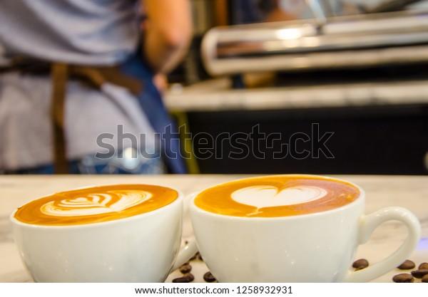 Cups Beautiful Coffee Latte Art Milk Stock Photo Edit Now 1258932931