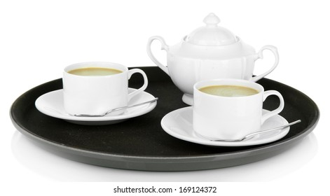 Cups of coffee on tray isolated on white