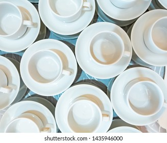cups for coffee or tea, top view. background with cups many cups background, top view