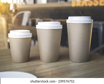 Cups of different sizes on restaurant table