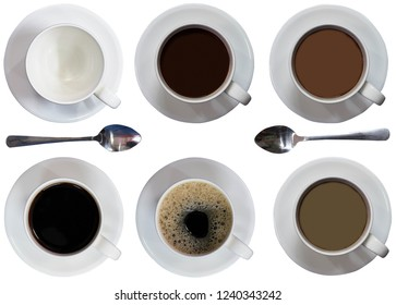 cups ,filled coffee or tea ,spoon,plates,black ,latte,bubbles,malt ,top view on iaolated white background