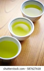 Cups of green tea