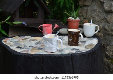 Cups of hot coffee in the garden corner, South Bohemia