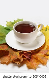 Cups of tee and autumn fall leaves on white.