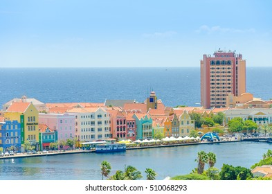 Curacao, Caribbean - September 29, 2012: View of  Willemstad  downtown with colorful facades in Handelskade Curacao, Netherlands Antilles