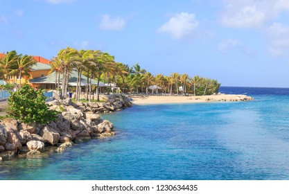 Curacao - December 17, 2016: Beach At Royal Sea Aquarium Resort