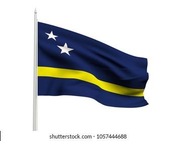 Curacao flag floating in the wind with a White sky background. 3D illustration.