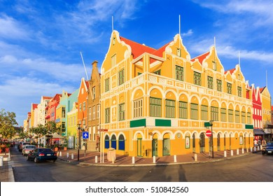 Curacao, Netherlands Antilles. Colonial houses in Willemstad.