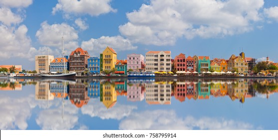 Curacao, Netherlands Antilles - November 20, 2017: View of colorful buildings of downtown Willemstad.
