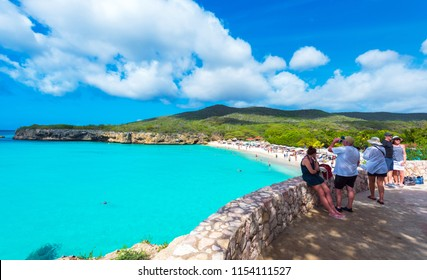 CURACAO, NETHERLANDS - JANUARY 23, 2018: View of the landscape in the Grote Knip. Copy space for text.