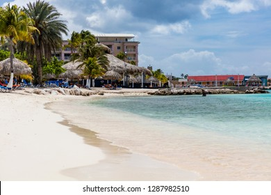 CURACAO- September 23, 2018: Tourists enjoying the tropical beaches of Curacao