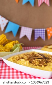 Curau, Canjica, Angú, sweet corn cream and dessert typical of Brazilian cuisine.