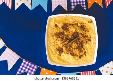 Curau, Canjica, Angú, sweet corn cream and dessert typical of Brazilian cuisine, Copy space. Close-up - Image