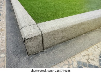 curb concrete for the extent and elevation to apply artificial grass used in garden decoration to be beautiful natural.