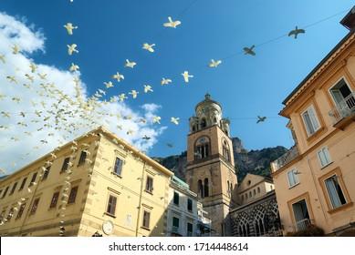Curch Amalfi in central square in Campania