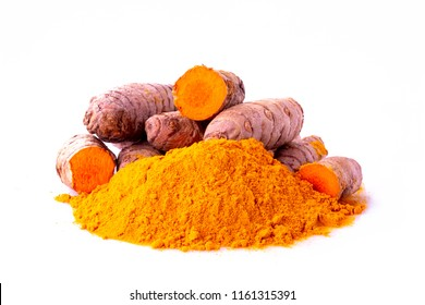 curcuma turmeric spice roots and ground isolated on white background