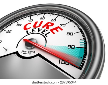 Cure level conceptual meter indicate maximum, isolated on white background