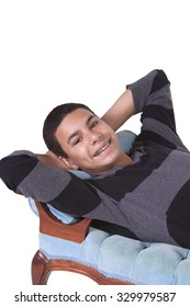 Cure Preteen Boy on the Couch - Isolated Background