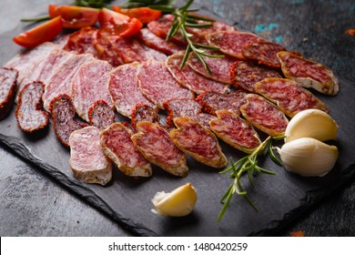 Cured pork and beef sausages served as tapas or antipasto cold buffet food