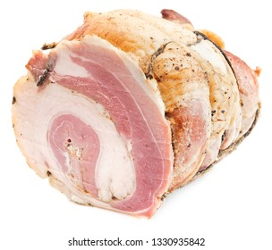Cured, smoked bacon, fat isolated on white background. Raw rolled bacon.