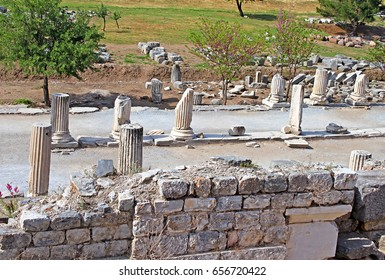 Curetes street in Ephesus, the ancient Greek city in Turkey. Ephesus was famed for the Temple of Artemis one of the Seven Wonders of the Ancient World