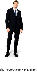 Curious Caucasian man with short medium blond hair in business formal outfit - Isolated