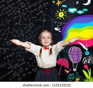 Curious child discovers the world of arts and science. Creativity education, knowledge and development concept