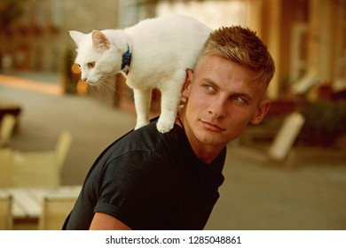 Curious explorer. Happy man on walk with cat pet. Muscular man hold cute pedigree cat. Happy cat owner with muscular look. Cat stands on back of his owner.