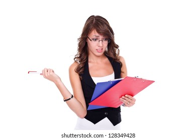 Curious girl with booklets in hands, white background