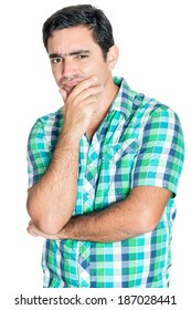 Curious hispanic man doing an inquisitive  gesture isolated on white