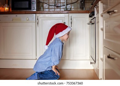 Curious little boy, watching ginger bread cookies in the oven, baking for christmas