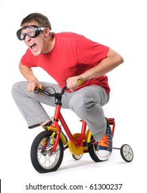 The curious man in goggles on a children's bicycle (withe background)