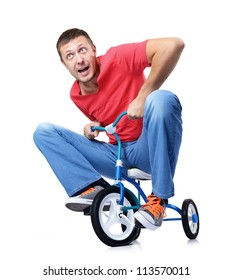 Curious man on a children's bicycle on white background, isolated path included