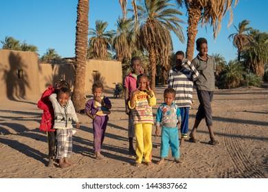 Curious Nubian children posing for a picture in northern Sudan - Abri, Sudan - 12 01 2018